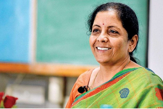 Indian Finance Minister Nirmala Sitharaman smiling