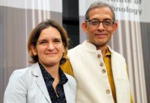 Nobel laureates Abhijit Banerjee and his wife Esther Duflo.