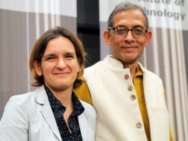 Nobel laureates Abhijit Banerjee and his wife Esther Duflo.