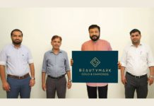Jayaram launching the new logo of BeautyMark Gold & Diamonds